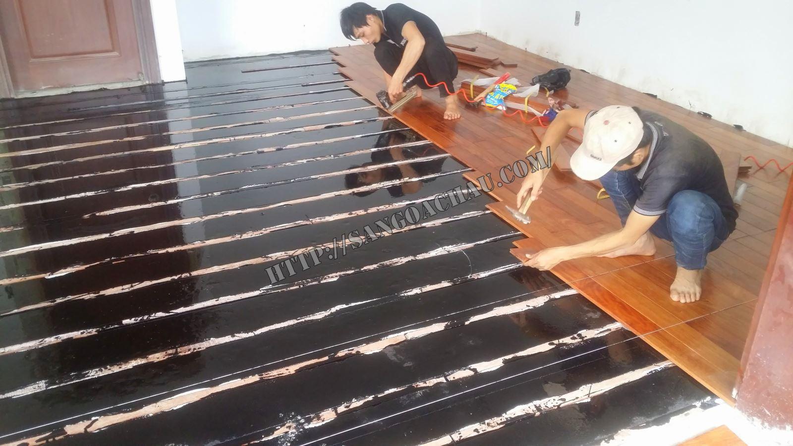Sàn gỗ căm xe thi công tại quận Tân Bình